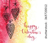 watercolor valentines day card. ... | Shutterstock .eps vector #365720012