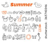 hand drawn summer collection.... | Shutterstock .eps vector #365740346
