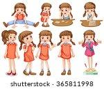 little girl in different... | Shutterstock .eps vector #365811998
