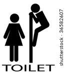 Women toilet label - stock vector