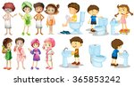 boys and girls in bathrobe... | Shutterstock .eps vector #365853242