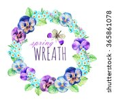 watercolor wreath of pansies... | Shutterstock . vector #365861078