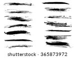 vector set of black grungy... | Shutterstock .eps vector #365873972