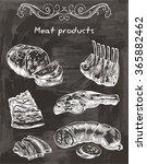 sketches of meat foods  | Shutterstock .eps vector #365882462