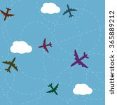 cartoon airplane routes.... | Shutterstock .eps vector #365889212