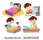 vector of cute boy cartoon work ... | Shutterstock .eps vector #365891828
