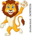 cartoon funny lion waving hand | Shutterstock . vector #365898356