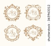 set of elegant floral monograms | Shutterstock .eps vector #365963312