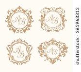 set of elegant floral monograms | Shutterstock .eps vector #365963312