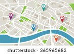 city map with navigation icons | Shutterstock .eps vector #365965682