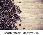 Coffee Beans On Nice Old Wood...