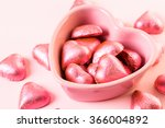 heart shaped chocolates in pink ... | Shutterstock . vector #366004892