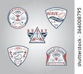 set of rugby badges. handmade... | Shutterstock .eps vector #366008795