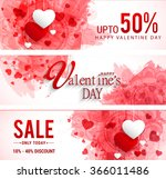 Sale header or banner set with discount offer for Happy Valentine's Day celebration. | Shutterstock vector #366011486