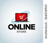 online shop  online store logo. ...   Shutterstock .eps vector #366018965