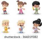 cartoon children eating junk... | Shutterstock .eps vector #366019382