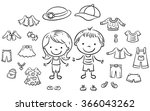 summer clothes set for a boy... | Shutterstock .eps vector #366043262