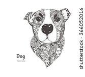 hand drawn dog with ethnic...