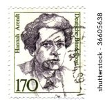 FEDERAL REPUBLIC OF GERMANY - CIRCA 1988: A stamp printed in Germany shows Hannah Arendt circa 1988. Women in German history series. - stock photo