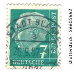 FEDERAL REPUBLIC OF GERMANY - CIRCA 1954: A stamp printed in Germany shows Theodor Heuss circa 1954. - stock photo