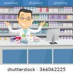 pharmacist chemist man in... | Shutterstock .eps vector #366062225
