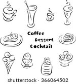 sketches coffee  desserts ... | Shutterstock .eps vector #366064502