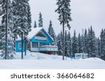 blue finnish house in winter... | Shutterstock . vector #366064682