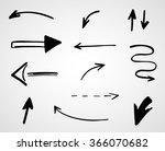 hand drawn arrows  vector set | Shutterstock .eps vector #366070682