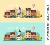 urban summer landscape.... | Shutterstock .eps vector #366074876