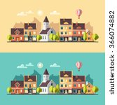 urban summer landscape.... | Shutterstock .eps vector #366074882