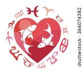 pisces zodiac sign  vector...   Shutterstock .eps vector #366076382