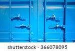 Closeup Of Blue Shipping...