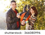 happy family taking a walk... | Shutterstock . vector #366080996