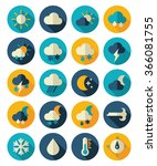 meteorology weather flat icons... | Shutterstock .eps vector #366081755
