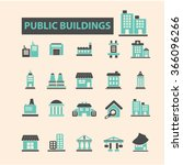 buildings  houses  icons  signs ... | Shutterstock .eps vector #366096266
