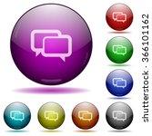 set of color chat bubbles glass ...