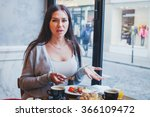 unhappy customer in restaurant  ... | Shutterstock . vector #366109472
