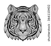 tiger head. patterned head of... | Shutterstock . vector #366110402