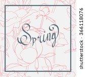 Spring Word  Flowers Vector On...