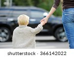 mother and toddler son crossing ... | Shutterstock . vector #366142022