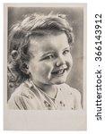 Cute Smiling Girl. Vintage...