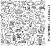 food doodles set | Shutterstock .eps vector #366166175