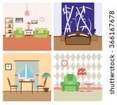 flat house interiors colorfull... | Shutterstock .eps vector #366167678
