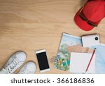 top view of travel items on... | Shutterstock . vector #366186836