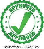 approved green grunge stamp. | Shutterstock . vector #366202592