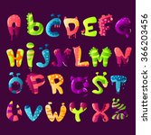 colorful cartoon font | Shutterstock .eps vector #366203456