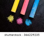 colored chalk  primary colors   ... | Shutterstock . vector #366229235