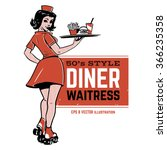 waitress on roller skates.... | Shutterstock .eps vector #366235358
