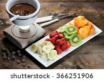 chocolate fondue with fruits... | Shutterstock . vector #366251906