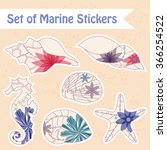 vector set of vintage marine... | Shutterstock .eps vector #366254522